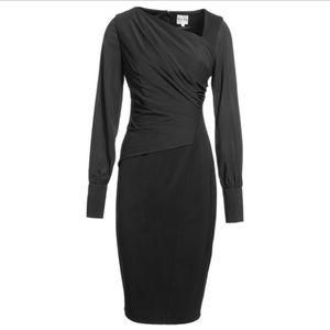 Reiss Ruched black puffy sleeve midi dress